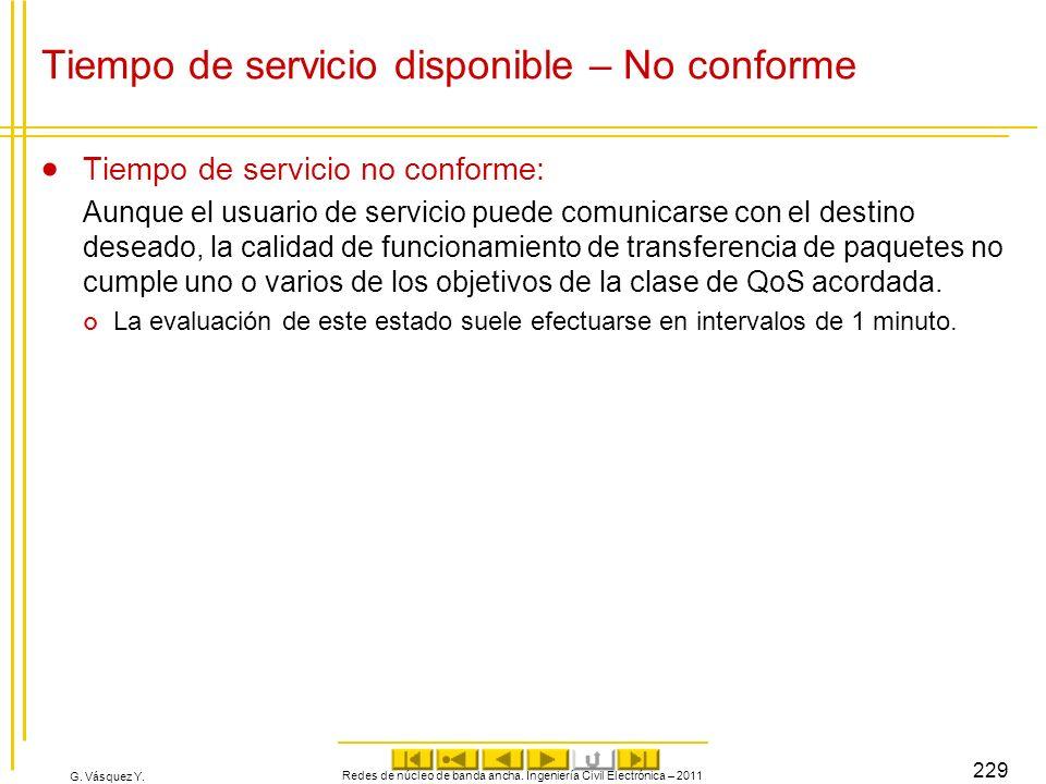 G. Vásquez Y. Tiempo de servicio disponible – No conforme Tiempo de servicio no conforme: Aunque el usuario de servicio puede comunicarse con el desti