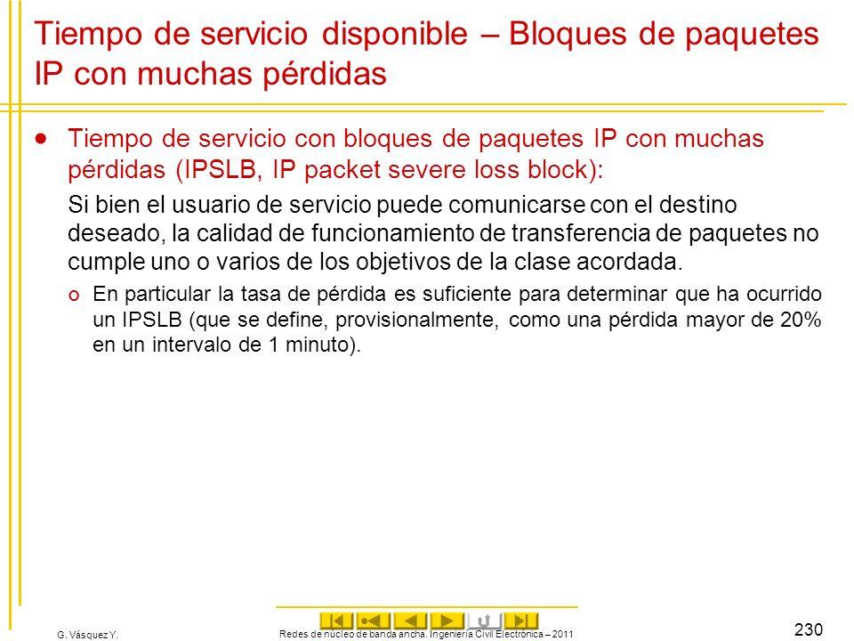 G. Vásquez Y. Tiempo de servicio disponible – Bloques de paquetes IP con muchas pérdidas Tiempo de servicio con bloques de paquetes IP con muchas pérd