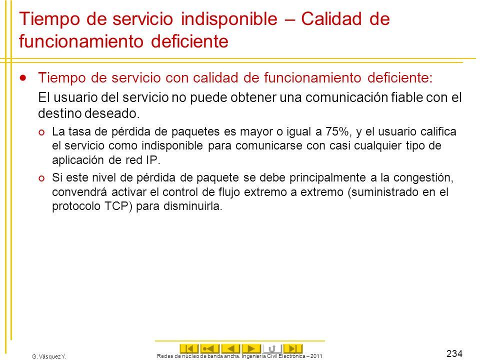G. Vásquez Y. Tiempo de servicio indisponible – Calidad de funcionamiento deficiente Tiempo de servicio con calidad de funcionamiento deficiente: El u