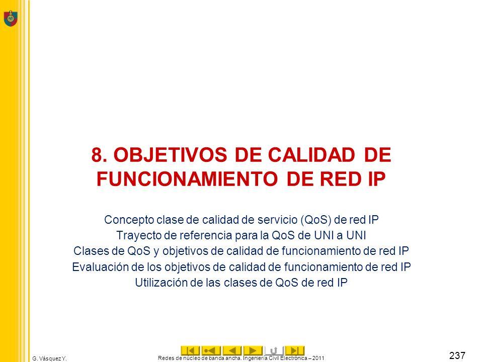 G. Vásquez Y. 8. OBJETIVOS DE CALIDAD DE FUNCIONAMIENTO DE RED IP Concepto clase de calidad de servicio (QoS) de red IP Trayecto de referencia para la