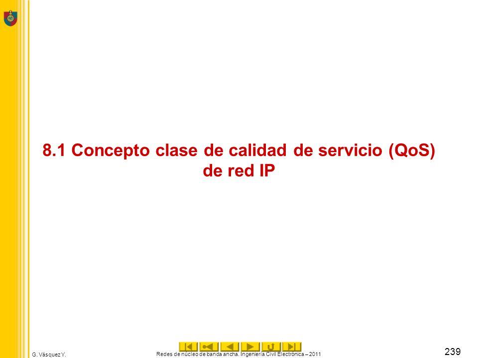 G. Vásquez Y. 8.1 Concepto clase de calidad de servicio (QoS) de red IP Redes de núcleo de banda ancha. Ingeniería Civil Electrónica – 2011 239