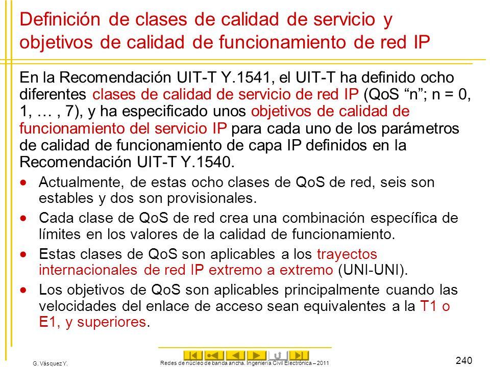 G. Vásquez Y. Definición de clases de calidad de servicio y objetivos de calidad de funcionamiento de red IP En la Recomendación UIT-T Y.1541, el UIT-