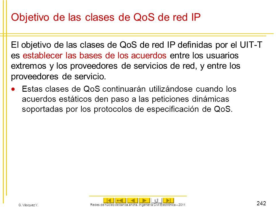 G. Vásquez Y. Objetivo de las clases de QoS de red IP El objetivo de las clases de QoS de red IP definidas por el UIT T es establecer las bases de los