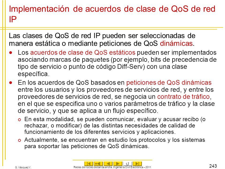 G. Vásquez Y. Implementación de acuerdos de clase de QoS de red IP Las clases de QoS de red IP pueden ser seleccionadas de manera estática o mediante