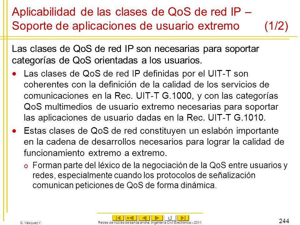 G. Vásquez Y. Aplicabilidad de las clases de QoS de red IP – Soporte de aplicaciones de usuario extremo (1/2) Las clases de QoS de red IP son necesari