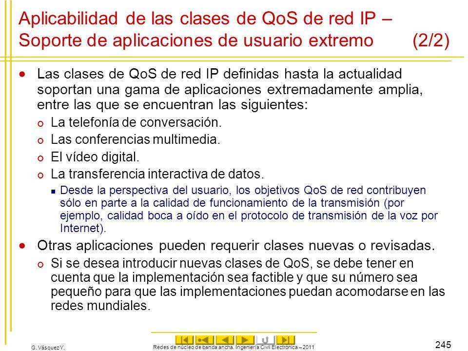 G. Vásquez Y. Aplicabilidad de las clases de QoS de red IP – Soporte de aplicaciones de usuario extremo (2/2) Las clases de QoS de red IP definidas ha