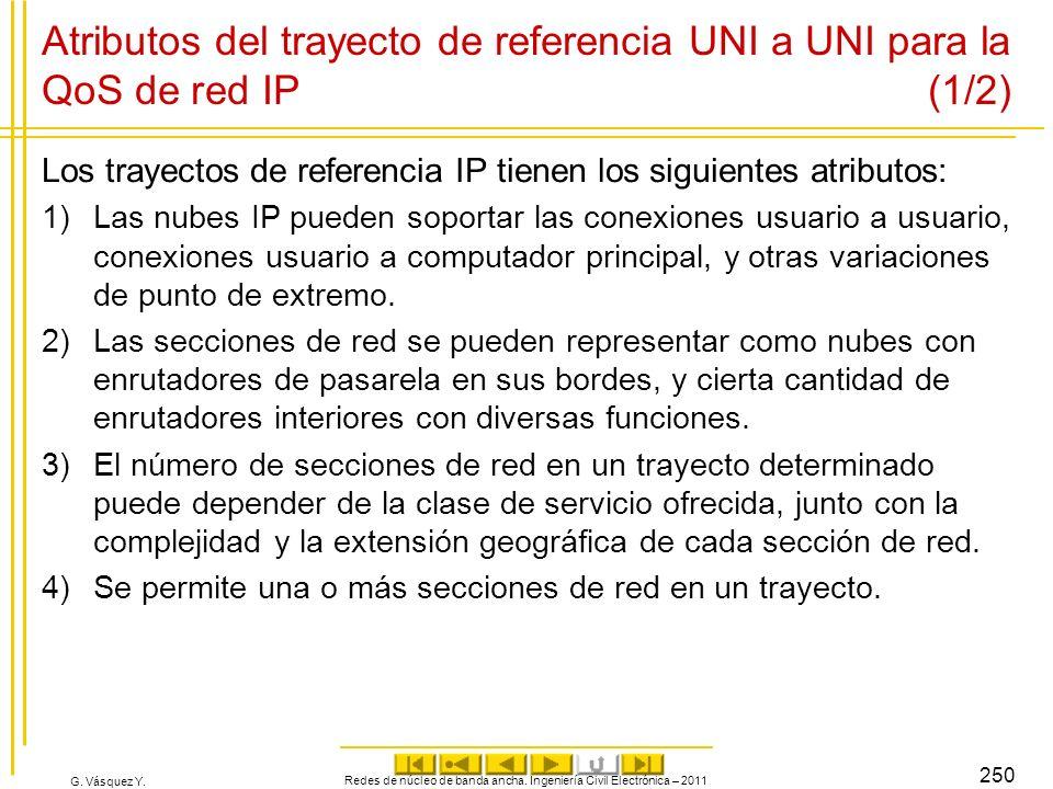 G. Vásquez Y. Atributos del trayecto de referencia UNI a UNI para la QoS de red IP (1/2) Los trayectos de referencia IP tienen los siguientes atributo