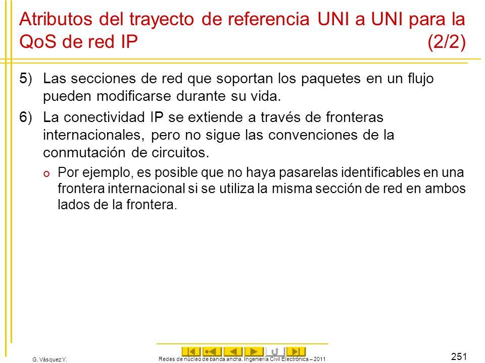 G. Vásquez Y. Atributos del trayecto de referencia UNI a UNI para la QoS de red IP (2/2) 5)Las secciones de red que soportan los paquetes en un flujo