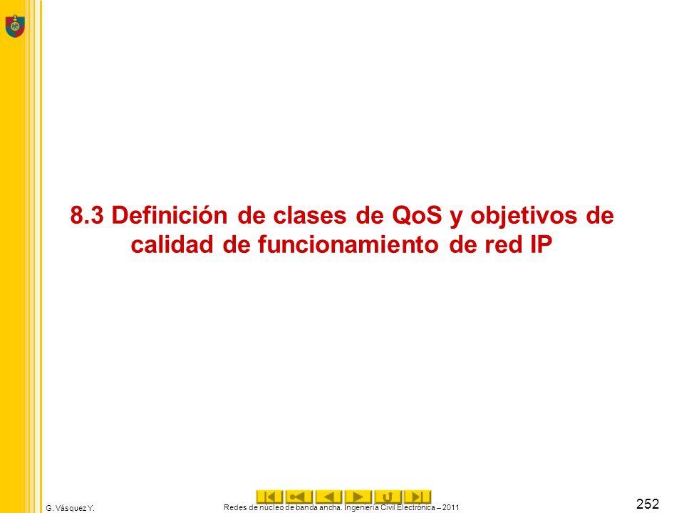 G. Vásquez Y. 8.3 Definición de clases de QoS y objetivos de calidad de funcionamiento de red IP Redes de núcleo de banda ancha. Ingeniería Civil Elec