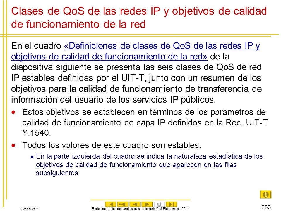 G. Vásquez Y. Clases de QoS de las redes IP y objetivos de calidad de funcionamiento de la red En el cuadro «Definiciones de clases de QoS de las rede