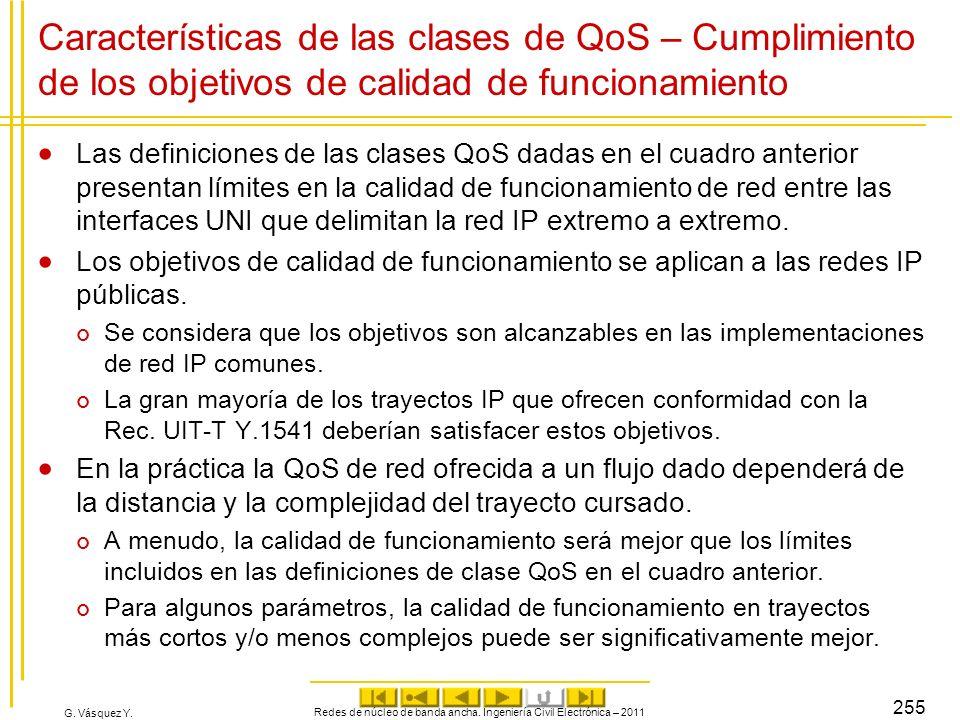G. Vásquez Y. Características de las clases de QoS – Cumplimiento de los objetivos de calidad de funcionamiento Las definiciones de las clases QoS dad