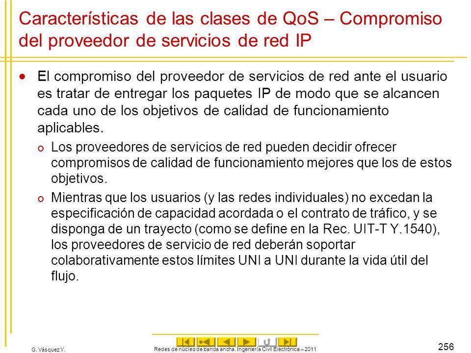 G. Vásquez Y. Características de las clases de QoS – Compromiso del proveedor de servicios de red IP El compromiso del proveedor de servicios de red a