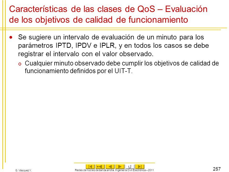G. Vásquez Y. Características de las clases de QoS – Evaluación de los objetivos de calidad de funcionamiento Se sugiere un intervalo de evaluación de