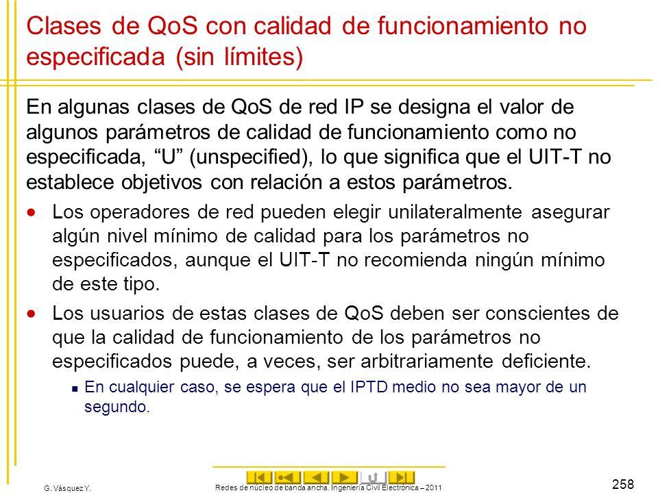 G. Vásquez Y. Clases de QoS con calidad de funcionamiento no especificada (sin límites) En algunas clases de QoS de red IP se designa el valor de algu