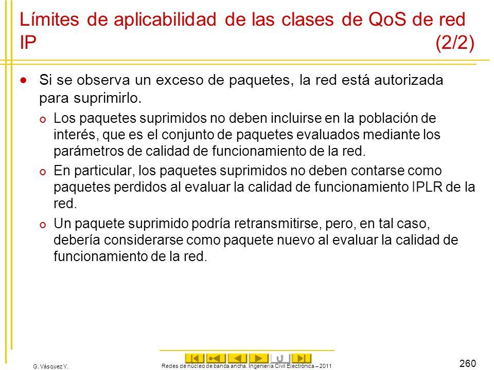 G. Vásquez Y. Límites de aplicabilidad de las clases de QoS de red IP (2/2) Si se observa un exceso de paquetes, la red está autorizada para suprimirl