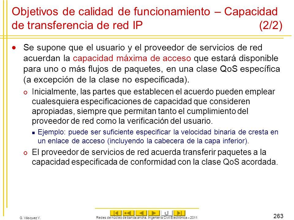 G. Vásquez Y. Objetivos de calidad de funcionamiento – Capacidad de transferencia de red IP (2/2) Se supone que el usuario y el proveedor de servicios