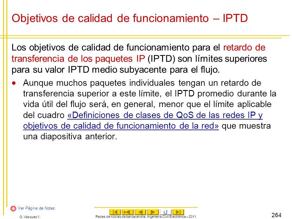 G. Vásquez Y. Objetivos de calidad de funcionamiento – IPTD Los objetivos de calidad de funcionamiento para el retardo de transferencia de los paquete