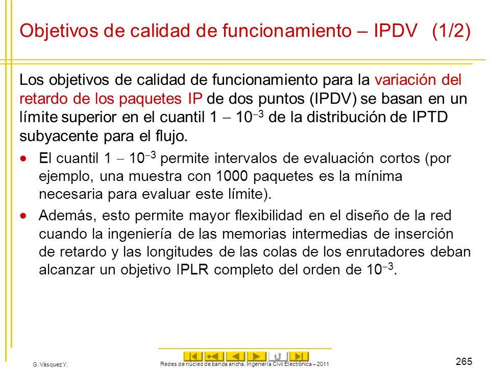 G. Vásquez Y. Objetivos de calidad de funcionamiento – IPDV (1/2) Los objetivos de calidad de funcionamiento para la variación del retardo de los paqu