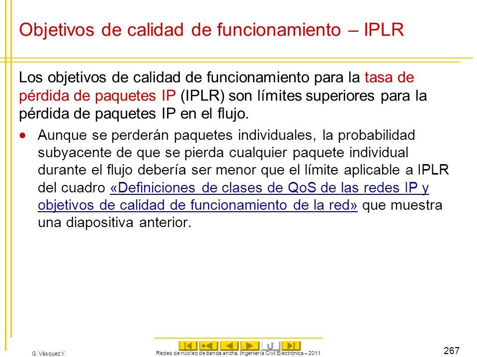G. Vásquez Y. Objetivos de calidad de funcionamiento – IPLR Los objetivos de calidad de funcionamiento para la tasa de pérdida de paquetes IP (IPLR) s