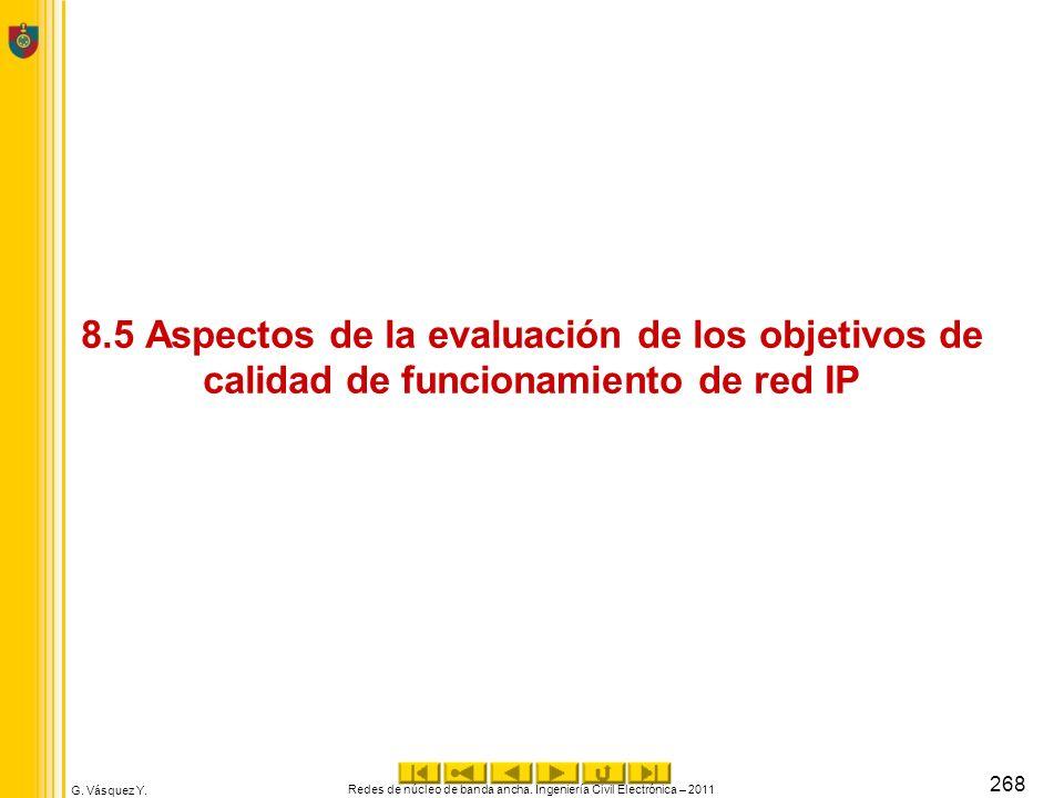 G. Vásquez Y. 8.5 Aspectos de la evaluación de los objetivos de calidad de funcionamiento de red IP Redes de núcleo de banda ancha. Ingeniería Civil E