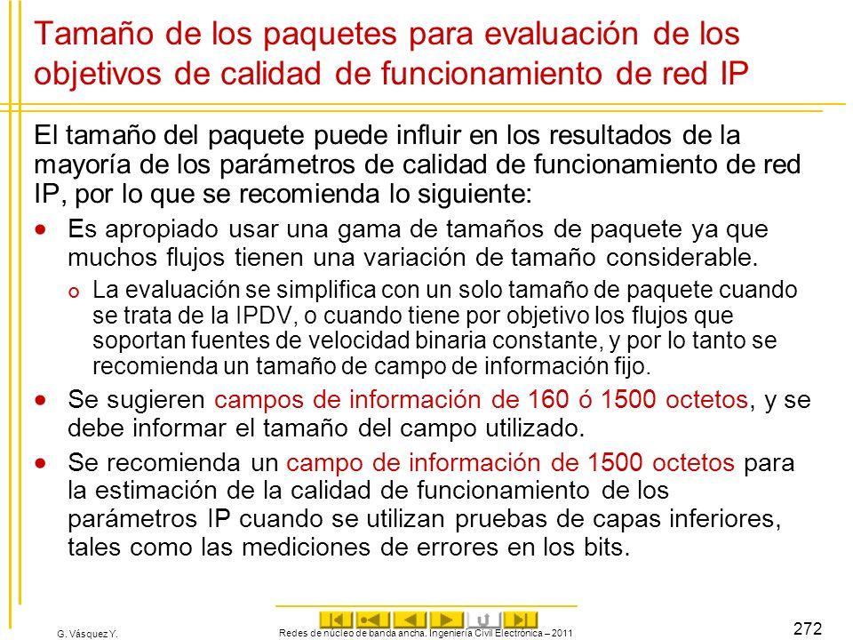 G. Vásquez Y. Tamaño de los paquetes para evaluación de los objetivos de calidad de funcionamiento de red IP El tamaño del paquete puede influir en lo