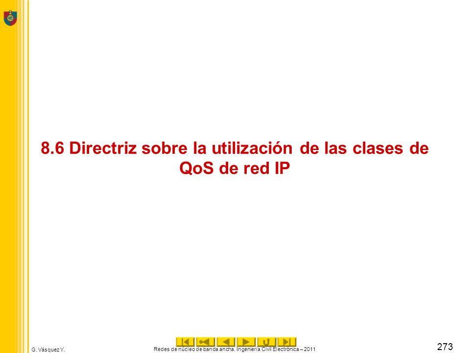 G. Vásquez Y. 8.6 Directriz sobre la utilización de las clases de QoS de red IP Redes de núcleo de banda ancha. Ingeniería Civil Electrónica – 2011 27
