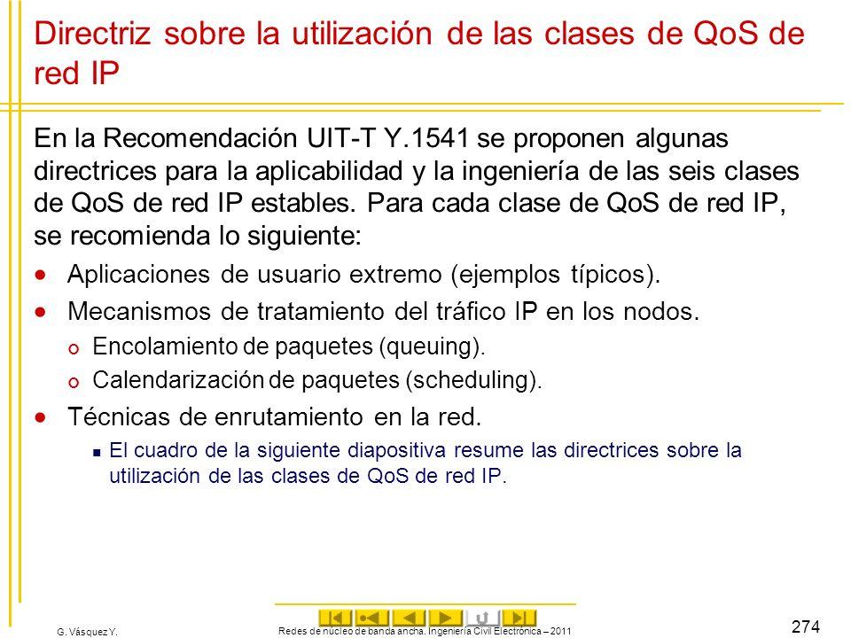 G. Vásquez Y. Directriz sobre la utilización de las clases de QoS de red IP En la Recomendación UIT-T Y.1541 se proponen algunas directrices para la a