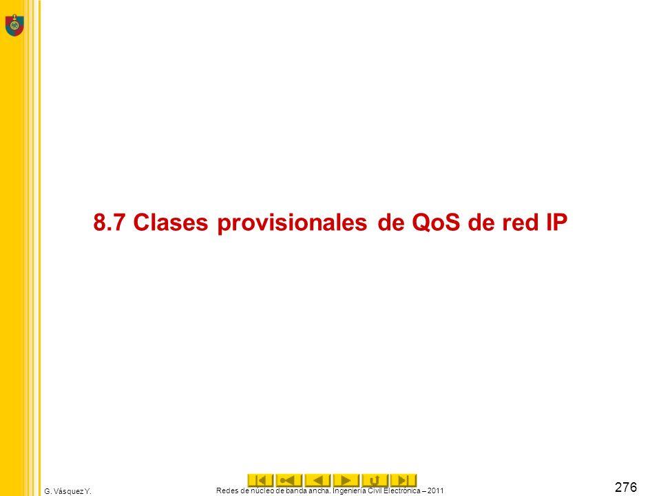 G. Vásquez Y. 8.7 Clases provisionales de QoS de red IP Redes de núcleo de banda ancha. Ingeniería Civil Electrónica – 2011 276