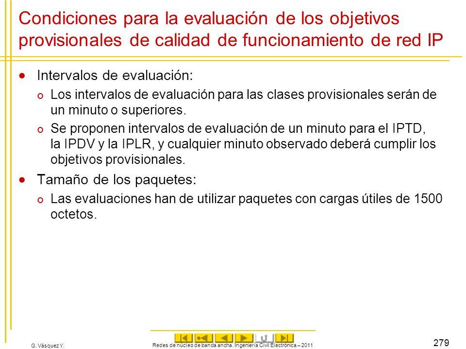 G. Vásquez Y. Condiciones para la evaluación de los objetivos provisionales de calidad de funcionamiento de red IP Intervalos de evaluación: Los inter