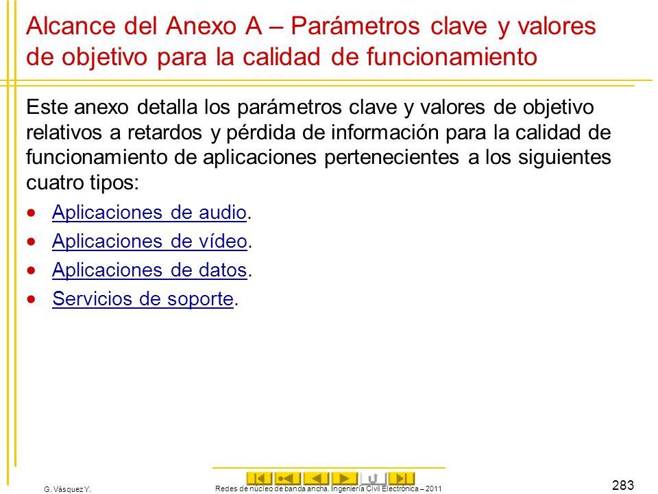 G. Vásquez Y. Alcance del Anexo A – Parámetros clave y valores de objetivo para la calidad de funcionamiento Este anexo detalla los parámetros clave y