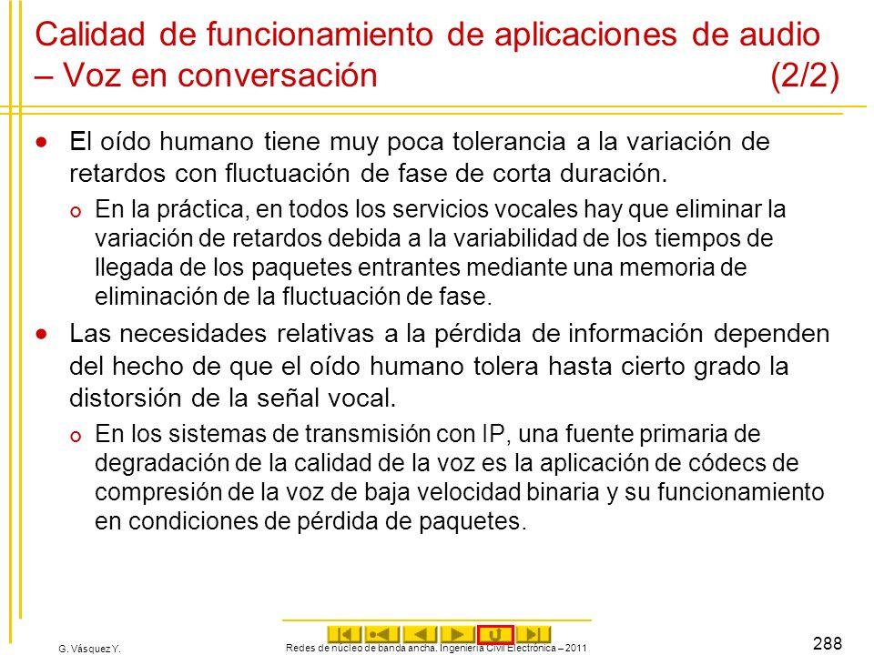 G. Vásquez Y. Calidad de funcionamiento de aplicaciones de audio – Voz en conversación (2/2) El oído humano tiene muy poca tolerancia a la variación d