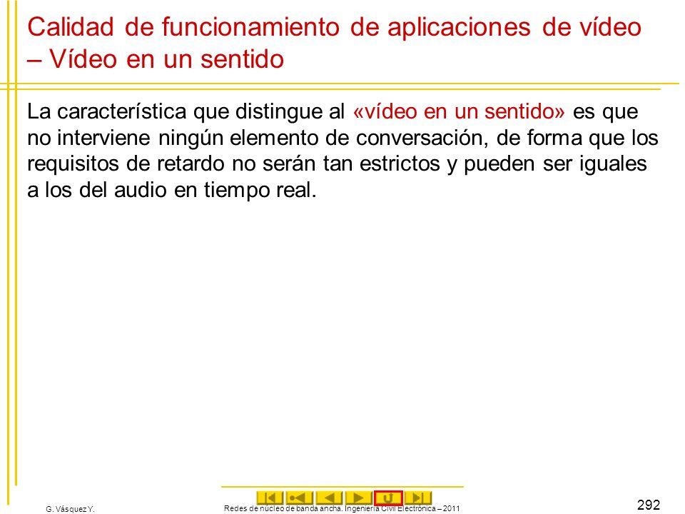G. Vásquez Y. Calidad de funcionamiento de aplicaciones de vídeo – Vídeo en un sentido La característica que distingue al «vídeo en un sentido» es que