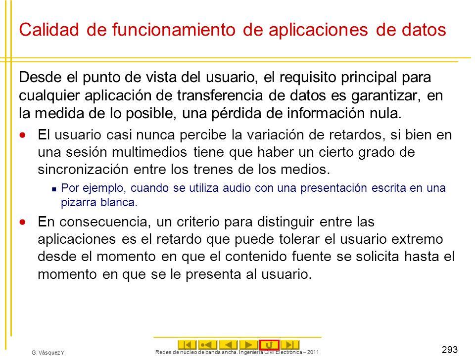G. Vásquez Y. Calidad de funcionamiento de aplicaciones de datos Desde el punto de vista del usuario, el requisito principal para cualquier aplicación