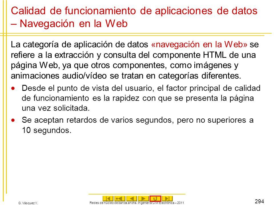 G. Vásquez Y. Calidad de funcionamiento de aplicaciones de datos – Navegación en la Web La categoría de aplicación de datos «navegación en la Web» se