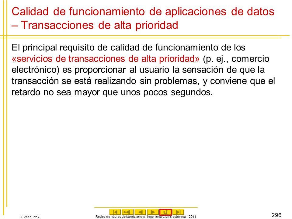 G. Vásquez Y. Redes de núcleo de banda ancha. Ingeniería Civil Electrónica – 2011 296 Calidad de funcionamiento de aplicaciones de datos – Transaccion