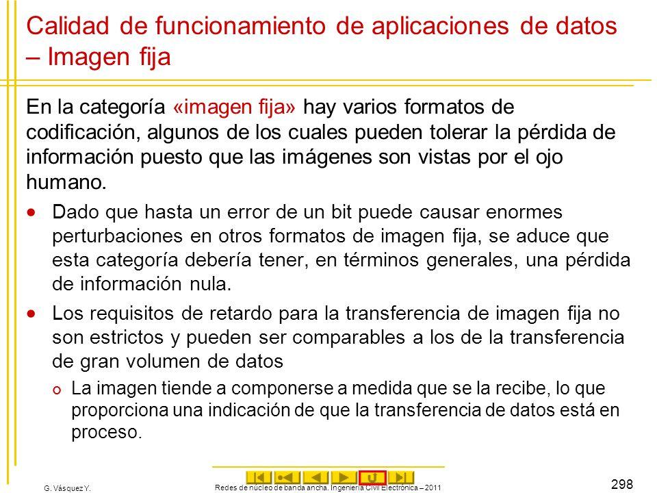 G. Vásquez Y. Calidad de funcionamiento de aplicaciones de datos – Imagen fija En la categoría «imagen fija» hay varios formatos de codificación, algu