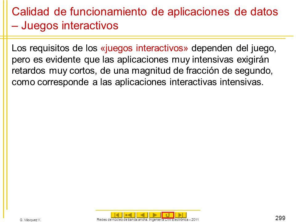 G. Vásquez Y. Calidad de funcionamiento de aplicaciones de datos – Juegos interactivos Los requisitos de los «juegos interactivos» dependen del juego,
