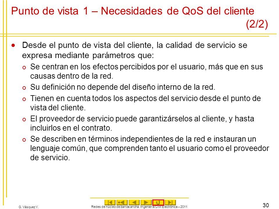G. Vásquez Y. Punto de vista 1 – Necesidades de QoS del cliente (2/2) Desde el punto de vista del cliente, la calidad de servicio se expresa mediante