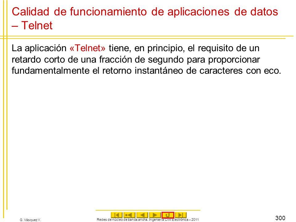 G. Vásquez Y. Redes de núcleo de banda ancha. Ingeniería Civil Electrónica – 2011 300 Calidad de funcionamiento de aplicaciones de datos – Telnet La a