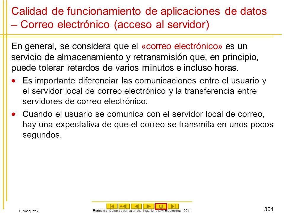 G. Vásquez Y. Calidad de funcionamiento de aplicaciones de datos – Correo electrónico (acceso al servidor) En general, se considera que el «correo ele