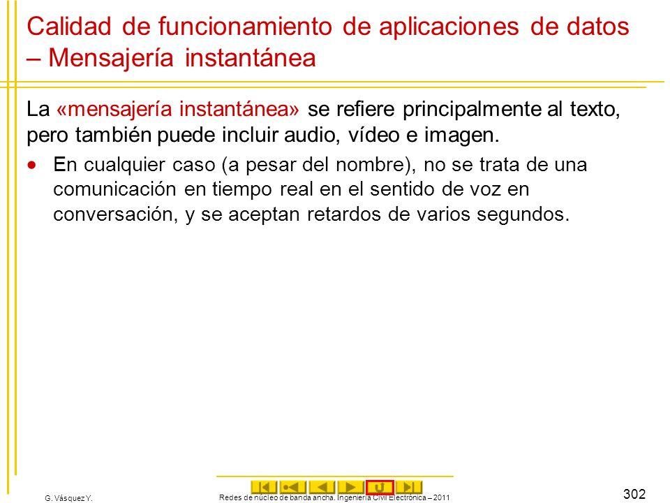 G. Vásquez Y. Redes de núcleo de banda ancha. Ingeniería Civil Electrónica – 2011 302 Calidad de funcionamiento de aplicaciones de datos – Mensajería
