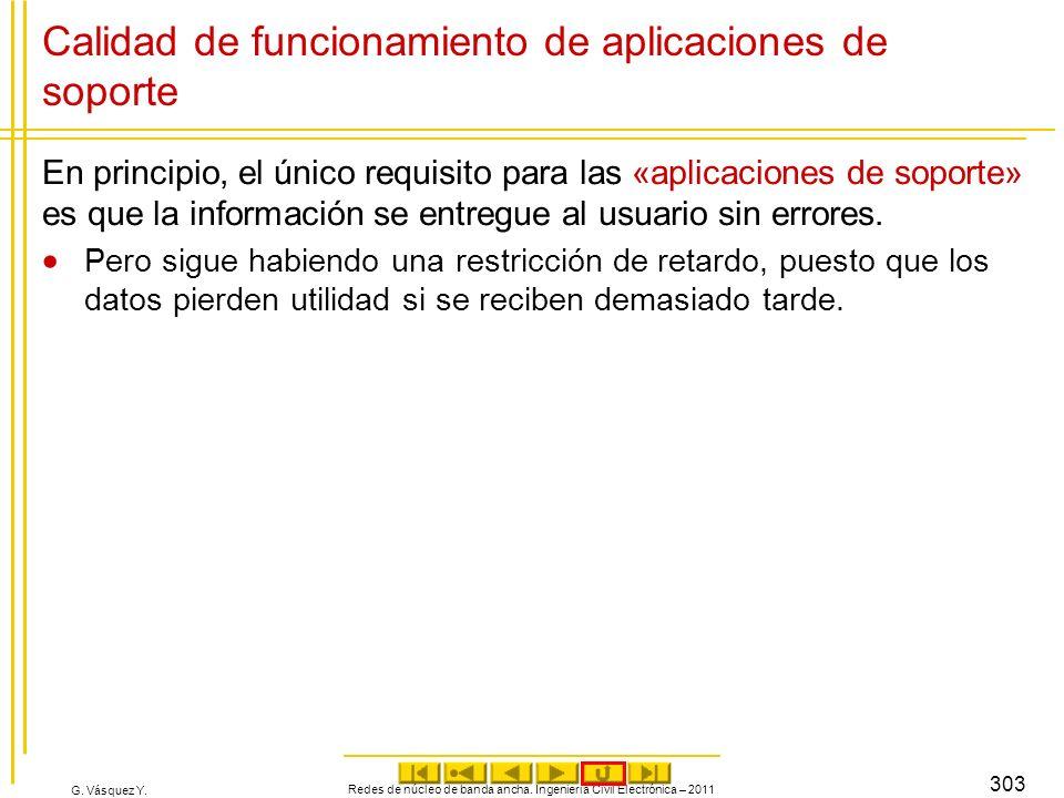 G. Vásquez Y. Calidad de funcionamiento de aplicaciones de soporte En principio, el único requisito para las «aplicaciones de soporte» es que la infor