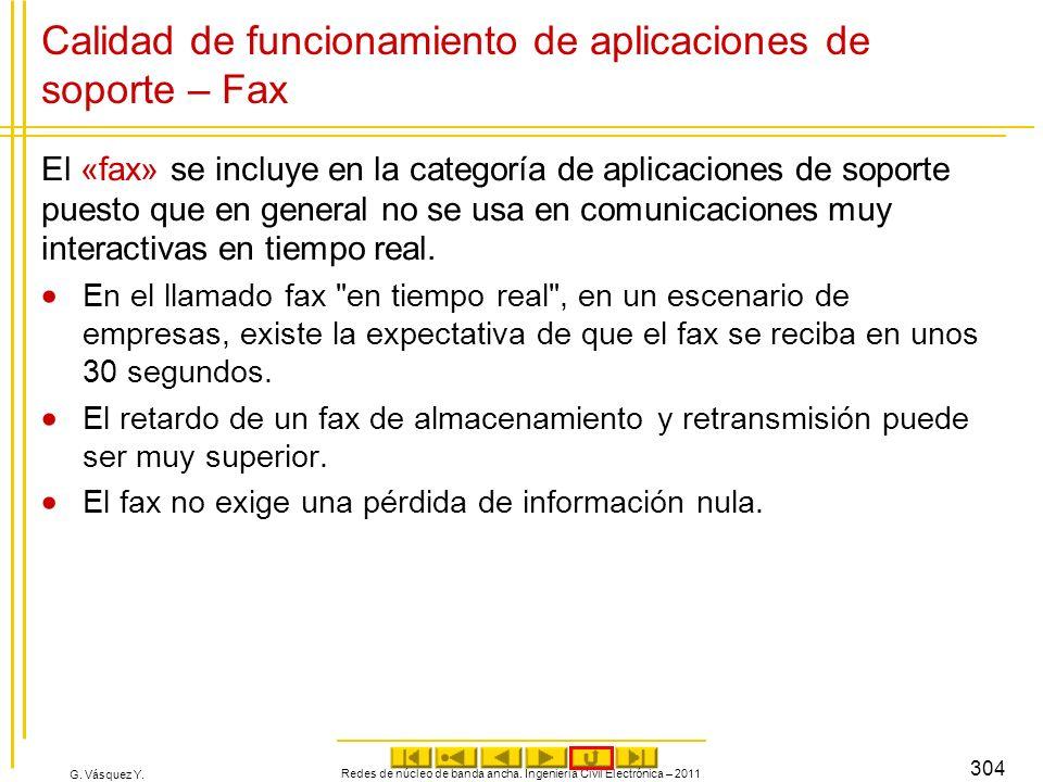 G. Vásquez Y. Calidad de funcionamiento de aplicaciones de soporte – Fax El «fax» se incluye en la categoría de aplicaciones de soporte puesto que en