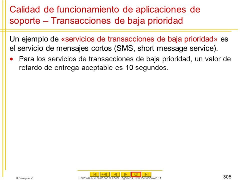 G. Vásquez Y. Redes de núcleo de banda ancha. Ingeniería Civil Electrónica – 2011 305 Calidad de funcionamiento de aplicaciones de soporte – Transacci
