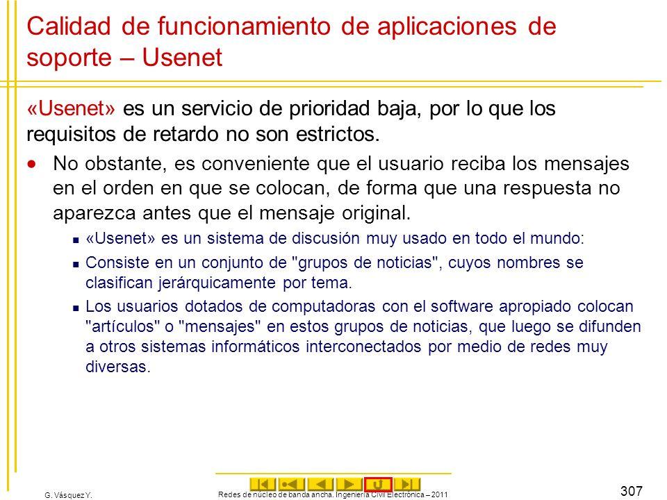 G. Vásquez Y. Calidad de funcionamiento de aplicaciones de soporte – Usenet «Usenet» es un servicio de prioridad baja, por lo que los requisitos de re