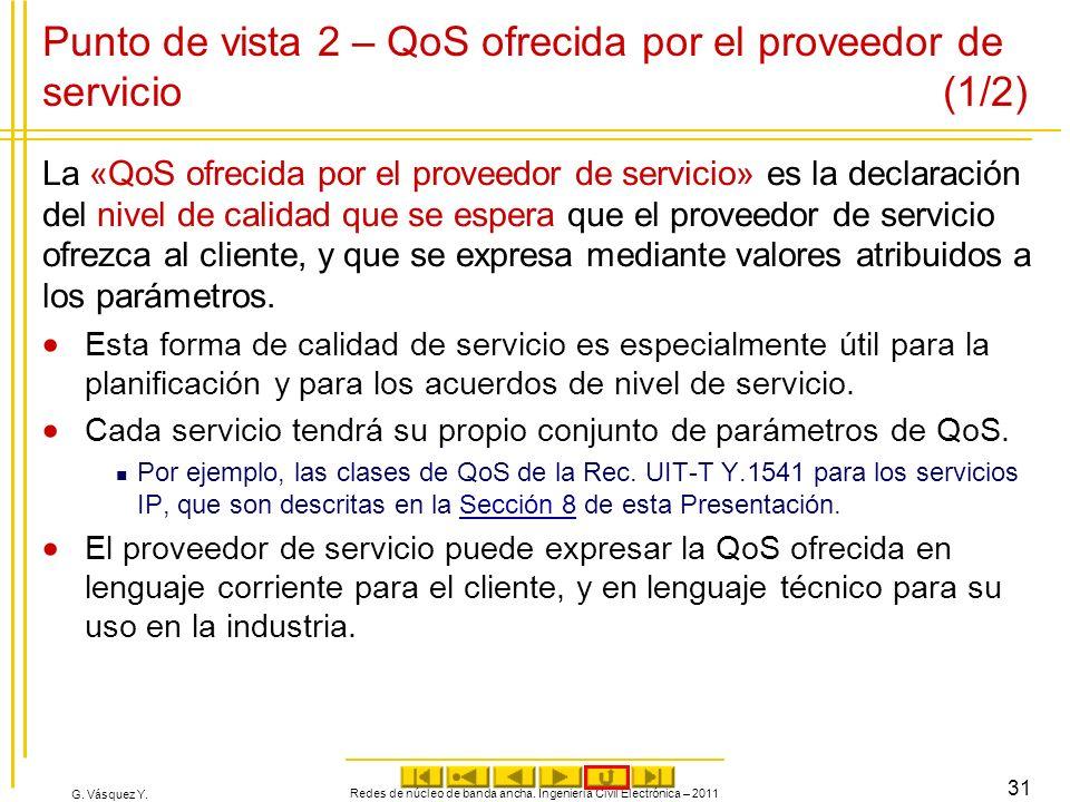 G. Vásquez Y. Punto de vista 2 – QoS ofrecida por el proveedor de servicio (1/2) La «QoS ofrecida por el proveedor de servicio» es la declaración del