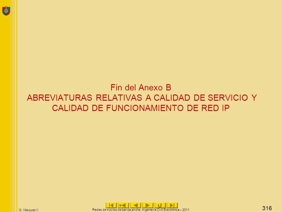 G. Vásquez Y. Fin del Anexo B ABREVIATURAS RELATIVAS A CALIDAD DE SERVICIO Y CALIDAD DE FUNCIONAMIENTO DE RED IP Redes de núcleo de banda ancha. Ingen