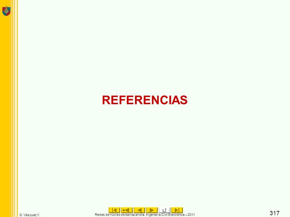 G. Vásquez Y. REFERENCIAS Redes de núcleo de banda ancha. Ingeniería Civil Electrónica – 2011 317