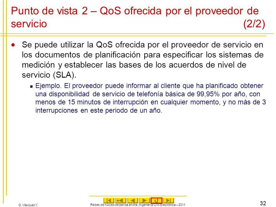 G. Vásquez Y. Redes de núcleo de banda ancha. Ingeniería Civil Electrónica – 2011 32 Punto de vista 2 – QoS ofrecida por el proveedor de servicio (2/2