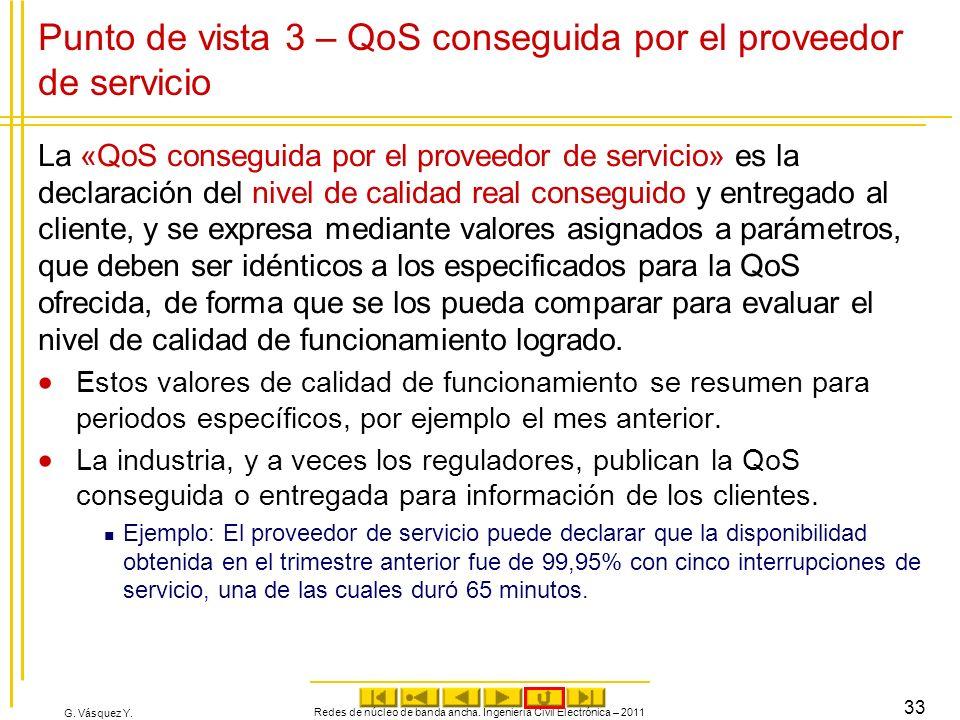 G. Vásquez Y. Redes de núcleo de banda ancha. Ingeniería Civil Electrónica – 2011 33 Punto de vista 3 – QoS conseguida por el proveedor de servicio La